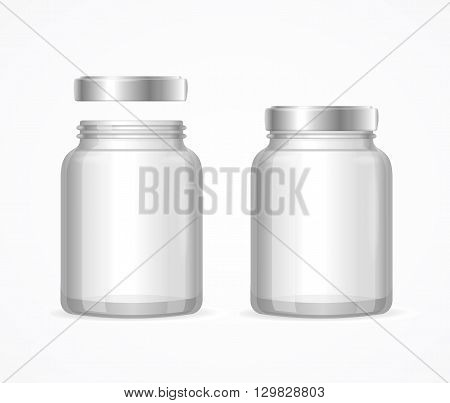 Glass Jars Bottles Empty Transparent. Open and Closed. Vector illustration