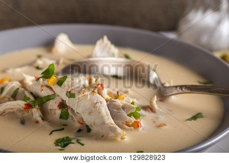 Close up of Romanian chicken soup named Ciorba Radauteana on plate with spoon