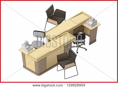 Office furniture workspace isometric flat vector 3d illustration. Office desk and chairs isometric view.