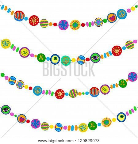 Set of rainbow bracelets in hippy style - cartoon flat design. Vector collection.