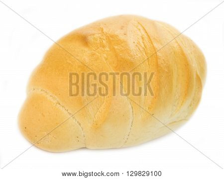 fresh loaf of bread length isolated on white background