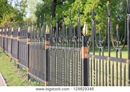 image of many fence posts with gold decoration