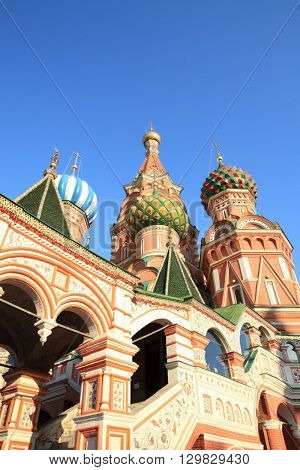 image of many domes blessed Basil cathedral at day