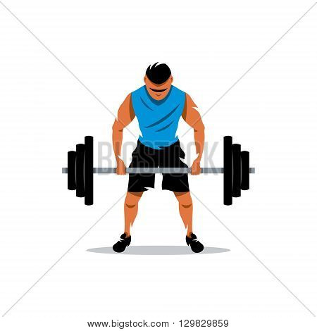 The athlete lifts a heavy barbell isolated on a white background