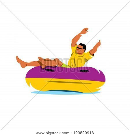 The man in the yellow shirt is riding on an inflatable tube on the water