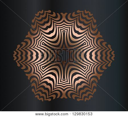 Abstract illusion texture pattern lines in the form of a convex symmetrical pattern in a square on gradient background