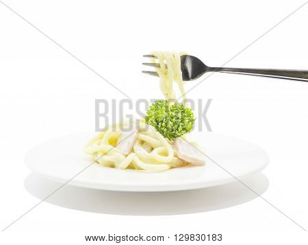 Eating Spaghetti Carbonara With Fork On White Plate