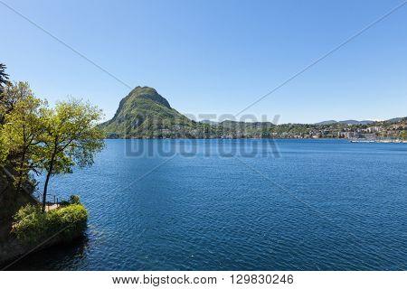Panoramic view of Lugano Lake, Switzerland