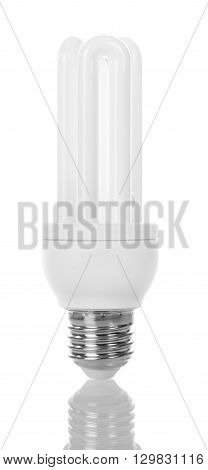 Energy-saving compact fluorescent lamp isolated on white background.