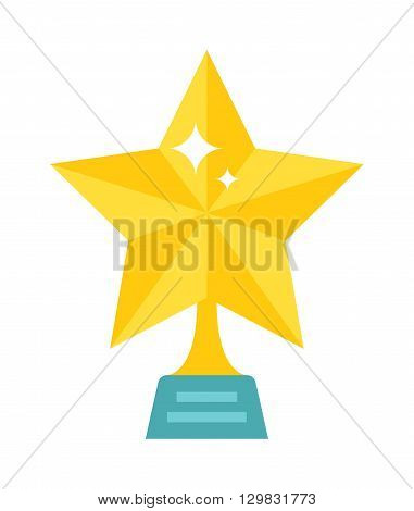 Vector illustration of golden star award and golden star symbol shiny yellow decoration. Golden star success award sign and golden star celebration shape metal object. Win graphic bright golden star.