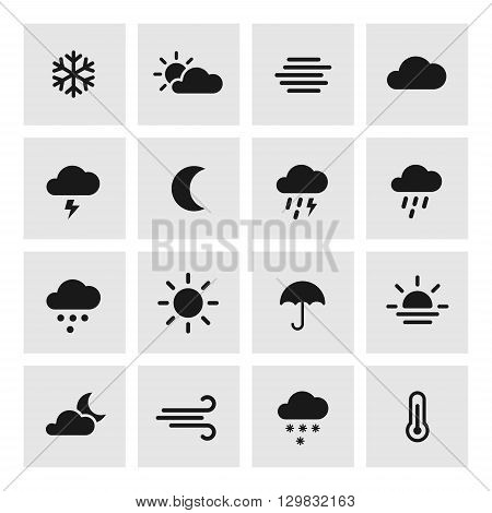 Weather forcast flat icons with squared background. Vector collection of symbols.