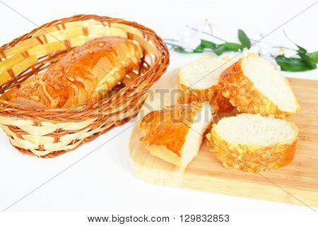 Bun with cheese. Chopped bun. Pieces buns