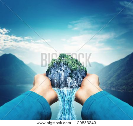 Male hands with waterfall
