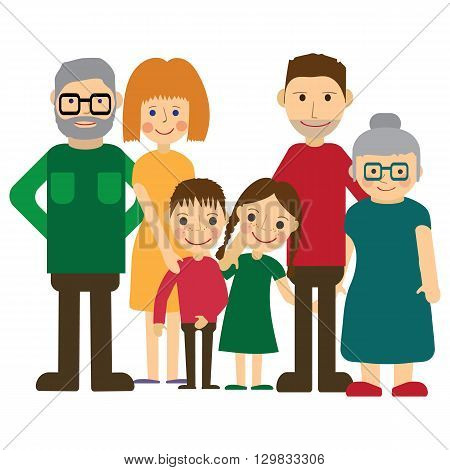 Happy family portrait. Father and mother, son and daughter, grandparents alltogether. Flat Vector illustration.