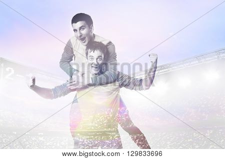 double exposure photo of stadium and soccer or football players celebrating goal with jersey on head