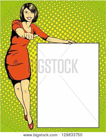Woman stays next to blank white board. Pop art comics retro style vector illustration.