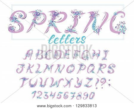 Alphabet in spring style with flowers. Vector abstract alphabet with colorful letters. Hand drawn font and alphabet.