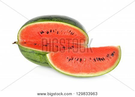 portion cut of watermelon on white background