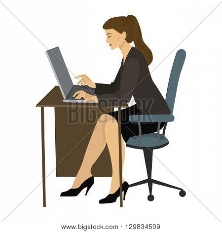 Brunette woman working on a laptop at the table vector graphics