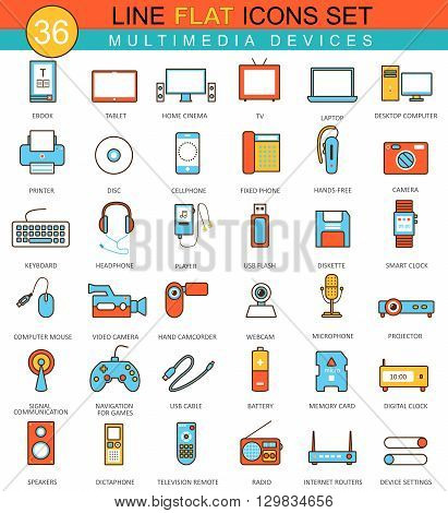 Vector Multimedia devices  flat line icon set. Modern elegant style design for web