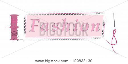 spool of thread and needle sewn fabric vector illustration