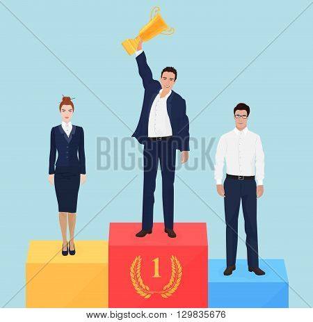 Businessman team leader on victory podium concept. Successful business champion