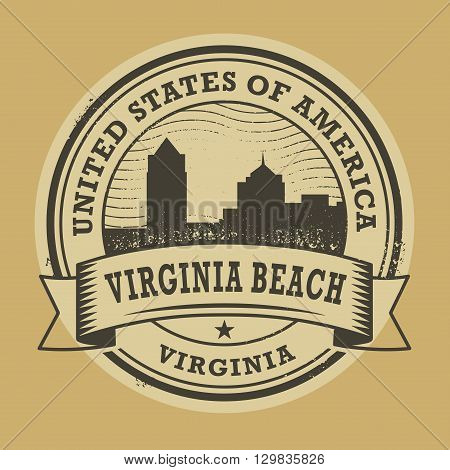 Grunge rubber stamp or label with name of Virginia Beach, Virginia, vector illustration