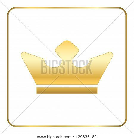 Crown gold icon. Royal golden silhouette icon isolated on white background. Symbol of king throne queen or jewelry authority kingdom. Luxury monarch concept Flat modern design. Vector illustration