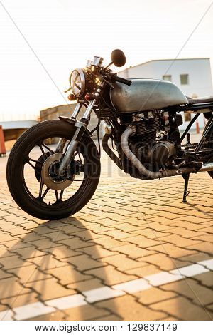 Silver Vintage Custom Motorcycle Caferacer