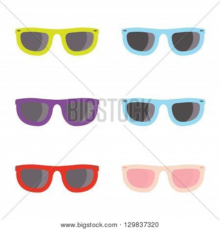 Vector color sunglasses icons set on whote background. Aviator sunglasses sign. Glasses Icon