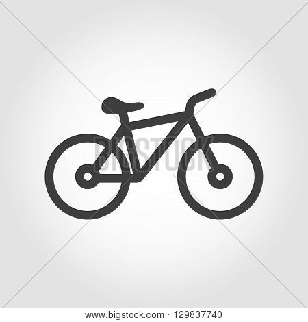 Vector black silhouette bicycle icon on grey background.