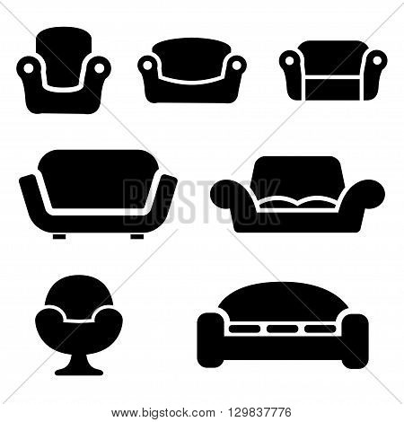 Vector black sofas and couches icons set on white background. Sofa furniture. Vintage furniture.