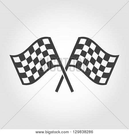 Vector checkered flags icons set on grey background. Crossed black and white checkered flags