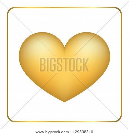 Gold heart 3D. Volume effect. Golden foil frosted metal shape isolated on white background. Symbol love wedding romance. Romantic Valentine Day design template invitation card. Vector Illustration