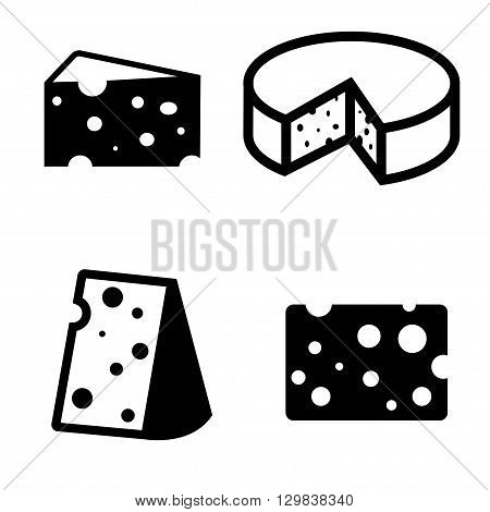 Vector black cheeses icons set. Piece of cheese.