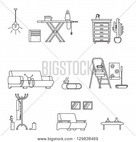Set home furniture thin line styl on white backgrounde. Line icon home furniture isolated. Vector stoke illustration