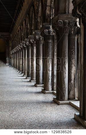 Arcade, Hallway And Columns In The Doge's Palace: Gothic Architecture In Venice, Italy