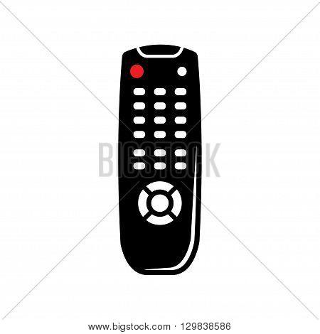 Vector black tv remote control icon on white background.