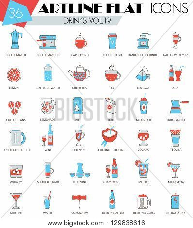 Vector Drinks ultra modern outline artline flat line icons for web and apps