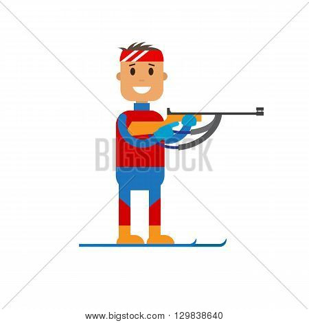 Vector illustration of biathlon player standung with a rifle in his hands in uniform. Flat design winter sport.