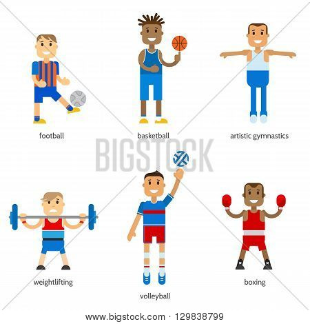 Set icons sportsmen of summer sport isolated. Vector stock illustration sportsmen in uniform. Flat design winter sport.