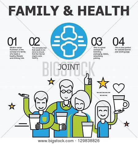 Internal organs - joint. Family and a healthy lifestyle. Medical infographic icons, human organs, body anatomy. Vector icons of internal human organs Flat design. Internal organs icons.