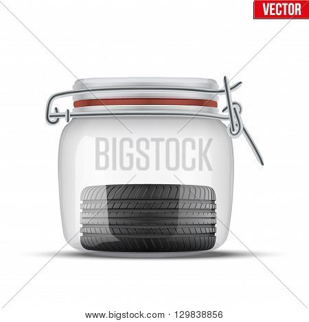 Conceptual illustration of the seasonal storage of tires. Glass jar and wheel inside. Vector Illustration isolated on white background.