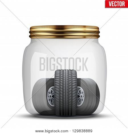 Conceptual illustration of the seasonal storage of tires. Glass jar and wheels in it. Vector Illustration isolated on white background.