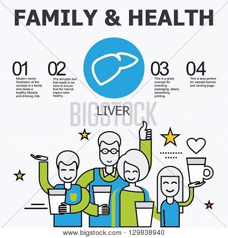 Internal organs - liver. Family and a healthy lifestyle. Medical infographic icons, human organs, body anatomy. Vector icons of internal human organs Flat design. Internal organs icons.