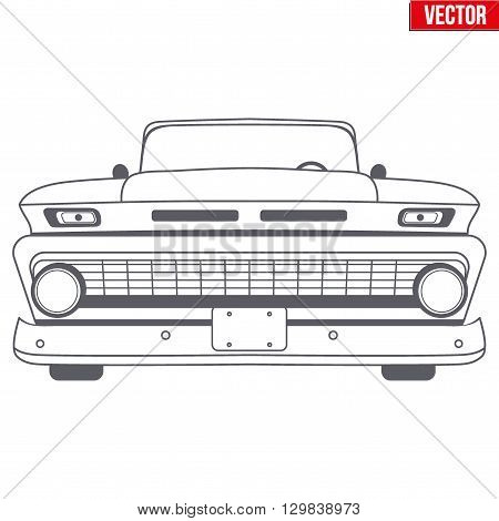 Muscle car vector symbol for delivery company. Monochrome design. Front view. Vector Illustration isolated on background.