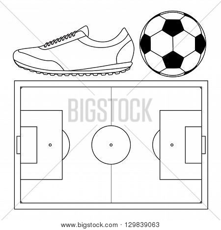 Soccer ball Running shoes. Football field top view. Vector illustration isolated on white background.
