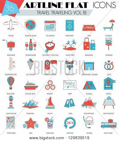 Vector Travel traveling ultra modern outline artline flat line icons for web and apps