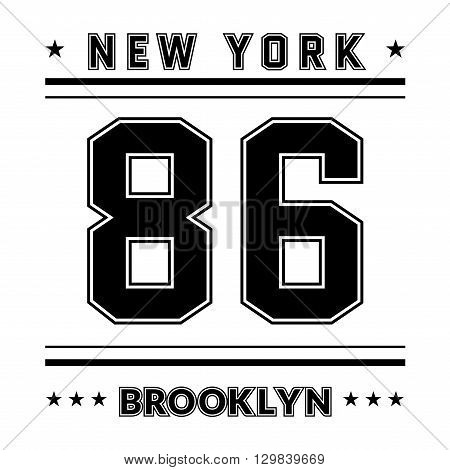 T shirt typography graphic New York city Brooklyn. Street graphic style NYC. Fashion stylish print sports wear. College emblem sign. Retro. Template apparel card label poster. Vector illustration.