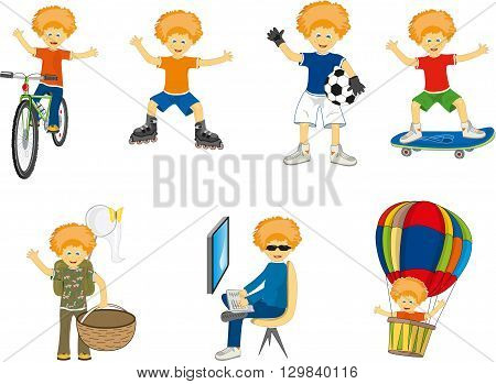 little boy in different situations. vector illustration